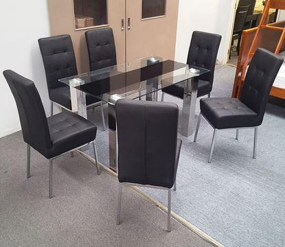 Picture of Levi Dining Table Glass 1.5X0.9m with 6 Black Nobel Dining Chair