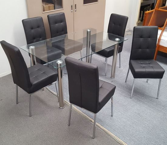 Picture of Melody Dining Table Clear Glass 1.5X0.9m with 6 Black Nobel Dining Chair