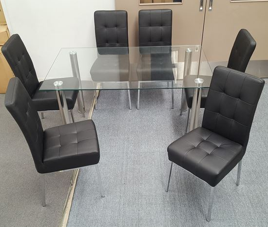 Picture of Melody Dining Table Clear Glass 1.3X0.8m with 6 Black Nobel Dining Chair
