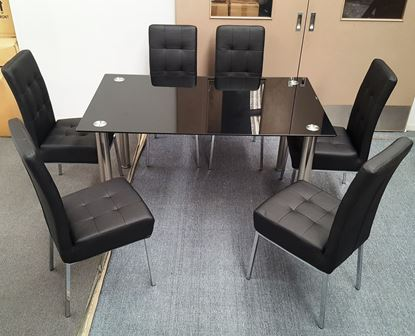 Picture of Melody Dining Table Black Glass 1.3X0.8m with 6 Black Nobel Dining Chair