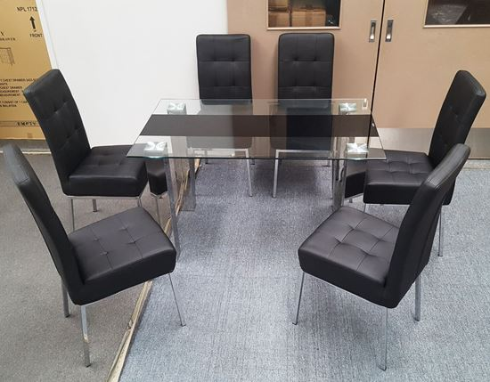 Picture of Levi Dining Table Glass 1.3X0.8m with 6 Black Nobel Dining Chair