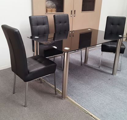 Picture of Melody Dining Table Black Glass 1.3X0.8m with 4 Black Nobel Dining Chair