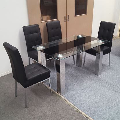 Picture of Levi Dining Table Glass 1.3X0.8m with 4 Black Nobel Dining Chair