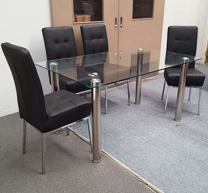 Picture of Melody Dining Table Clear Glass 1.3X0.8m with 4 Black Nobel Dining Chair