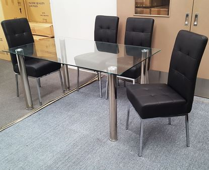 Picture of Melody Dining Table Clear Glass 1.5X0.9m with 4 Black Nobel Dining Chair