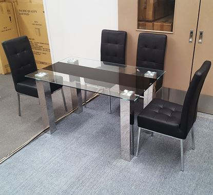 Picture of Levi Dining Table Glass 1.5X0.9m with 4 Black Nobel Dining Chair