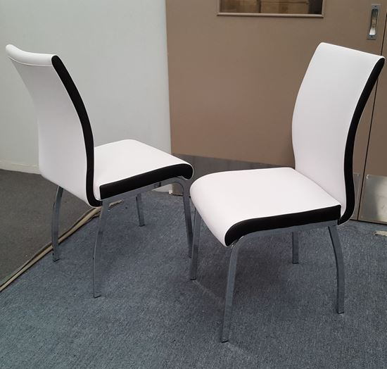 Picture of Emma Dining Chair White PU Leather Chrome Legs