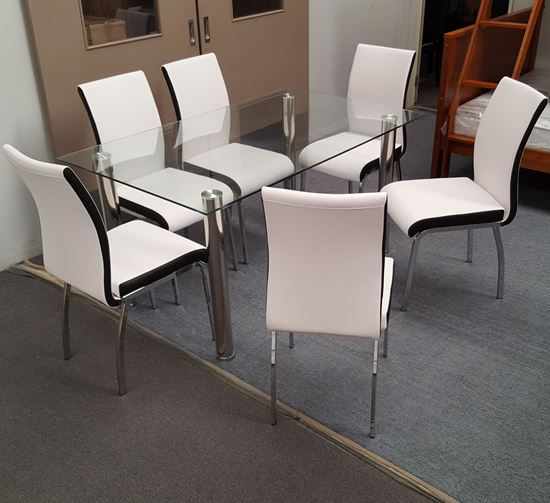 Picture of Melody Dining Table Clear Glass 1.3X0.8m with 6 White Emma Dining Chair