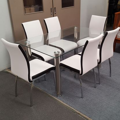 Picture of Melody Dining Table Clear Glass 1.5X0.9m with 6 White Emma Dining Chair