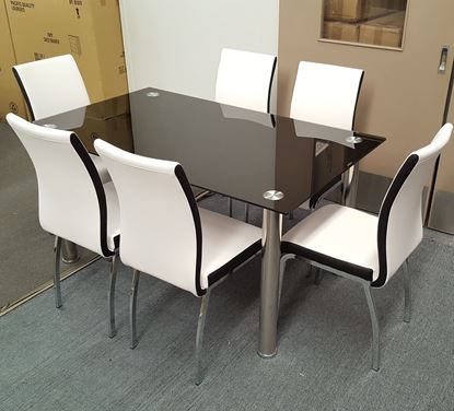 Picture of Melody Dining Table Black Glass 1.3X0.8m with 6 White Emma Dining Chair