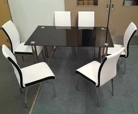 Picture of Melody Dining Table Black Glass 1.5X0.9m with 6 White Emma Dining Chair