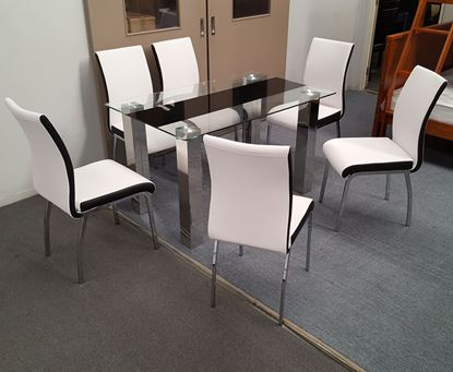 Picture of Levi  Dining Table  Glass 1.3X0.8m with 6 White Emma Dining Chair