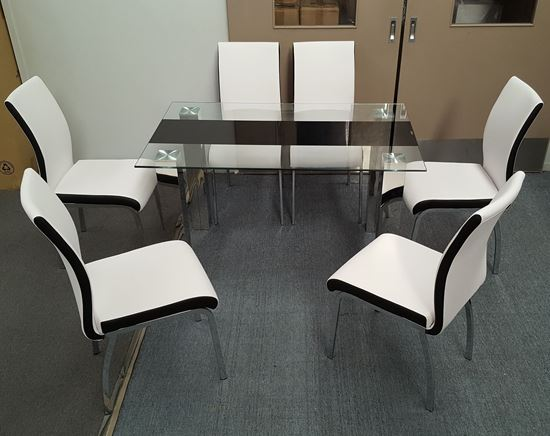 Picture of Levi  Dining Table  Glass 1.5X0.9m with 6 White Emma Dining Chair