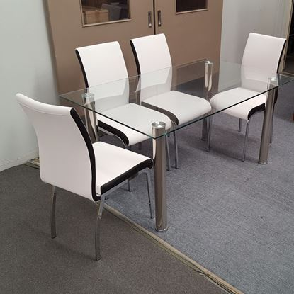 Picture of Melody Dining Table Clear Glass 1.3X0.8m with 4 White Emma Dining Chair