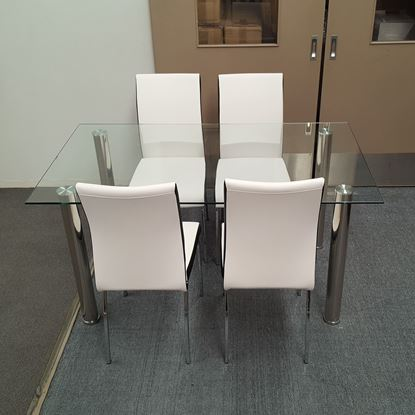 Picture of Melody Dining Table Clear Glass 1.5X0.9m with 4 White Emma Dining Chair
