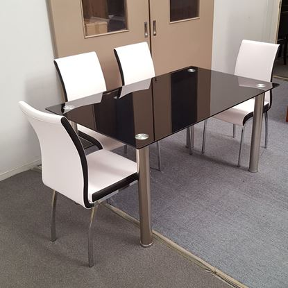 Picture of Melody Dining Table Black Glass 1.3X0.8m with 4 White Emma Dining Chair