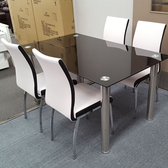 Picture of Melody Dining Table Black Glass 1.5X0.9m with 4 White Emma Dining Chair