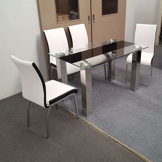Picture of Levi Dining Table Glass 1.3X0.8m with 4 White Emma Dining Chair