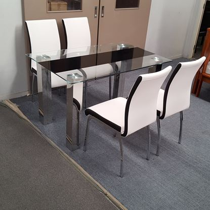 Picture of Levi Dining Table Glass 1.5X0.9m with 4 White Emma Dining Chair