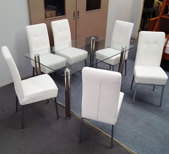 Picture of Melody Dining Table Clear Glass 1.3X0.8m with 6 White Nobel Dining Chair