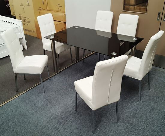 Picture of Melody Dining Table Black Glass 1.5X0.9m with 6 White Nobel Dining Chair