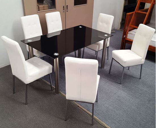 Picture of Melody Dining Table Black Glass 1.3X0.8m with 6 White Nobel Dining Chair