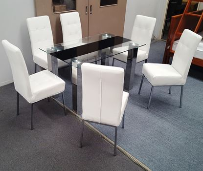 Picture of Levi  Dining Table  Glass 1.3X0.8m with 6 White Nobel Dining Chair