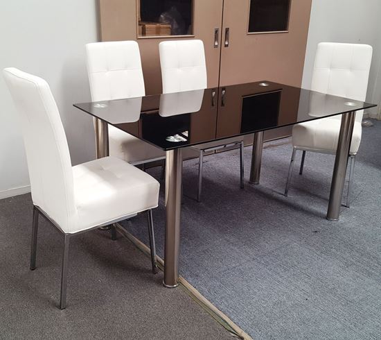 Picture of Melody Dining Table Black Glass 1.3X0.8m with 4 White Nobel Dining Chair