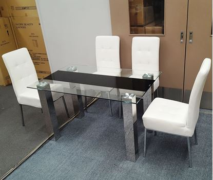 Picture of Levi  Dining Table  Glass 1.3X0.8m with 4 White Nobel Dining Chair