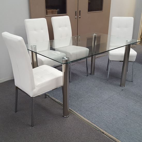 Picture of Melody Dining Table Clear Glass 1.3X0.8m with 4 White Nobel Dining Chair