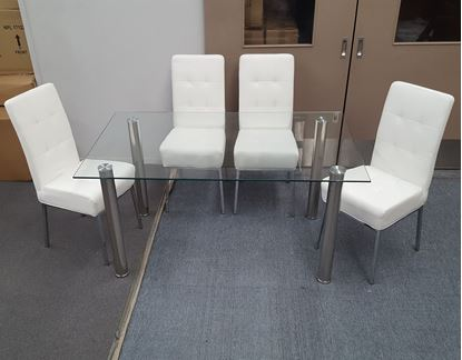 Picture of Melody Dining Table Clear Glass 1.5X0.9m with 4 White Nobel Dining Chair