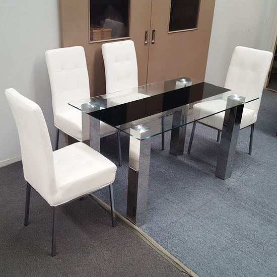 Picture of Levi  Dining Table  Glass 1.5X0.9m with 4 White Nobel Dining Chair