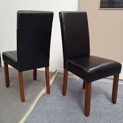 Picture of Zoe Dining Chair Black PU Leather Antique Oak Legs