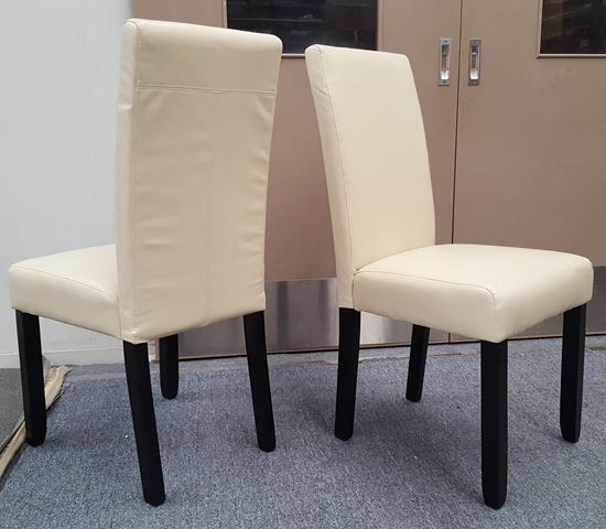 Picture of Zoe Dining Chair Ivory PU Leather Dark Legs