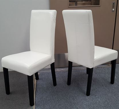 Picture of Zoe Dining Chair White PU Leather Dark Legs
