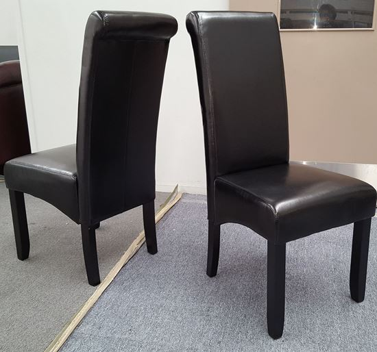 Picture of Vera Dining Chair Black PU Leather Dark Legs