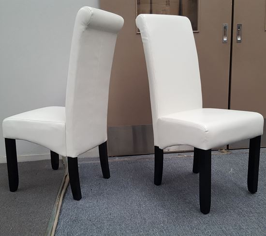 Picture of Vera Dining Chair White PU Leather Dark Legs