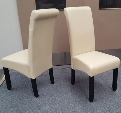 Picture of Vera Dining Chair Ivory PU Leather Dark Legs