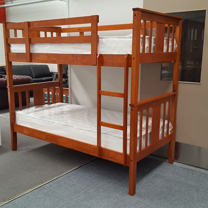 Picture of Holly Bunk Bed with Mattresses Single Solid Hardwood Oak Colour