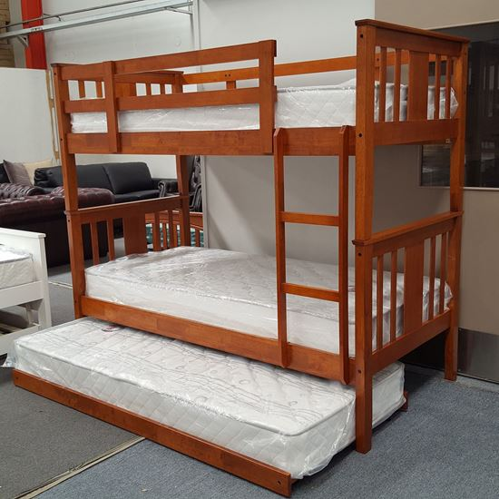 Picture of Holly Bunk Bed with Trundle and Mattresses Single Solid Hardwood Oak