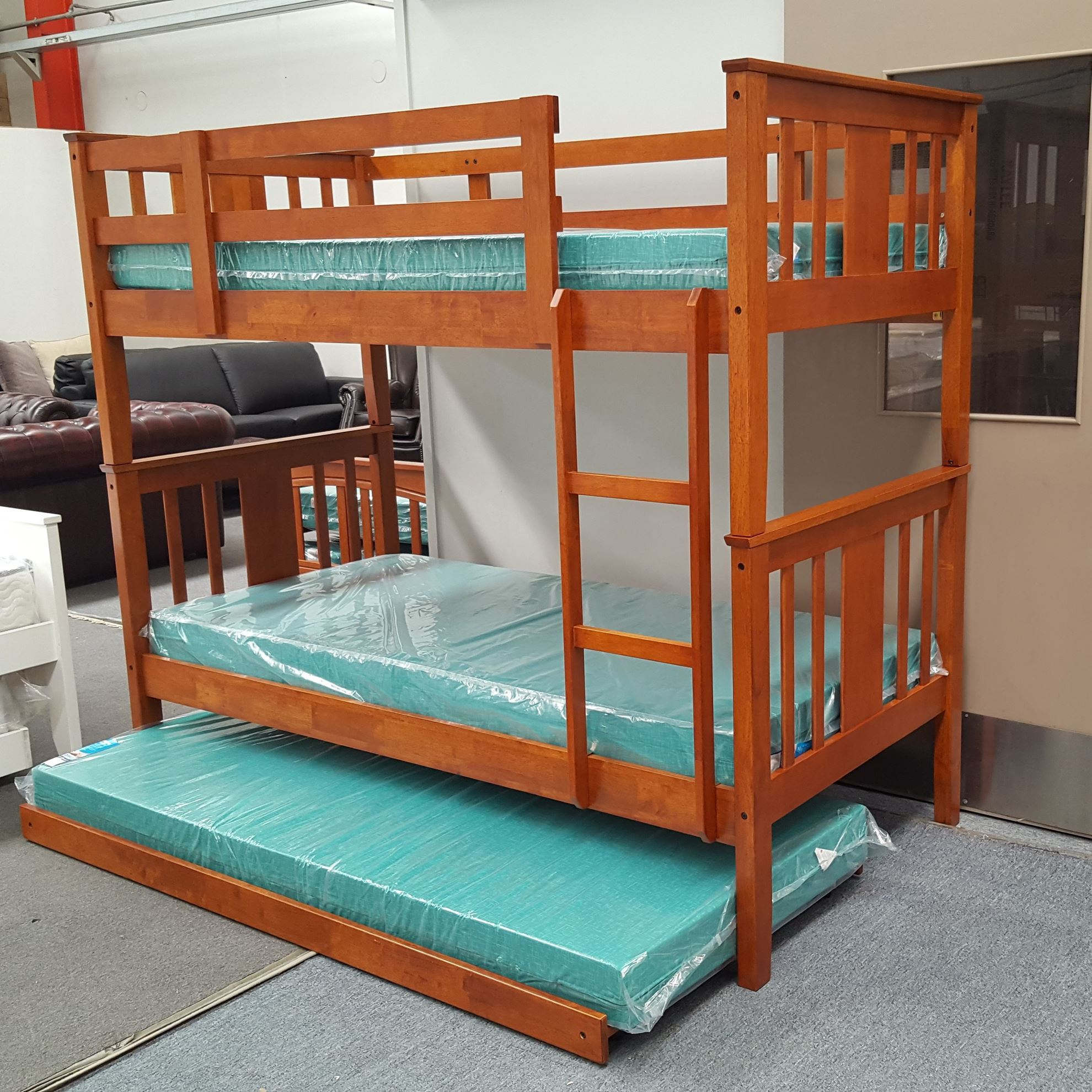 Furniture Place Holly Bunk Bed With Trundle And Mattresses Single Solid Hardwood Oak