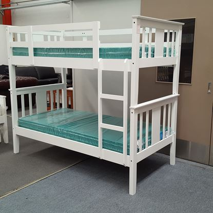 Picture of Holly Bunk Bed with Mattresses Single Solid Hardwood White Colour
