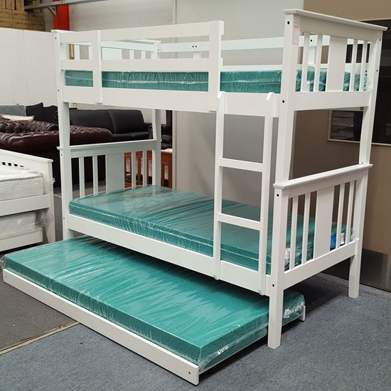 Picture of Holly Bunk Bed with Trundle and Mattresses Single Solid Hardwood White
