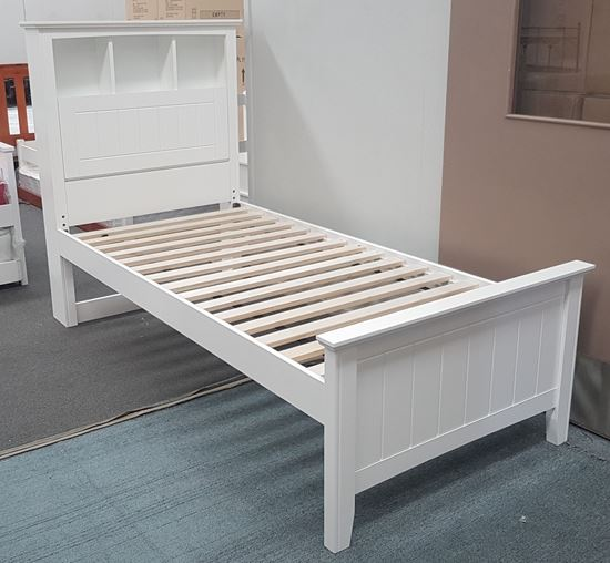 Picture of Kaylee Single Bed Box Headboard Solid Hardwood White Malaysian Made