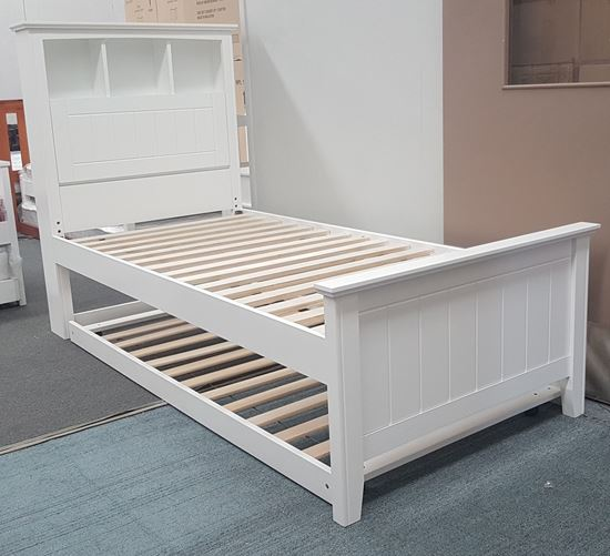 Picture of Kaylee Single Bed Box Headboard with Trundle Solid Hardwood White