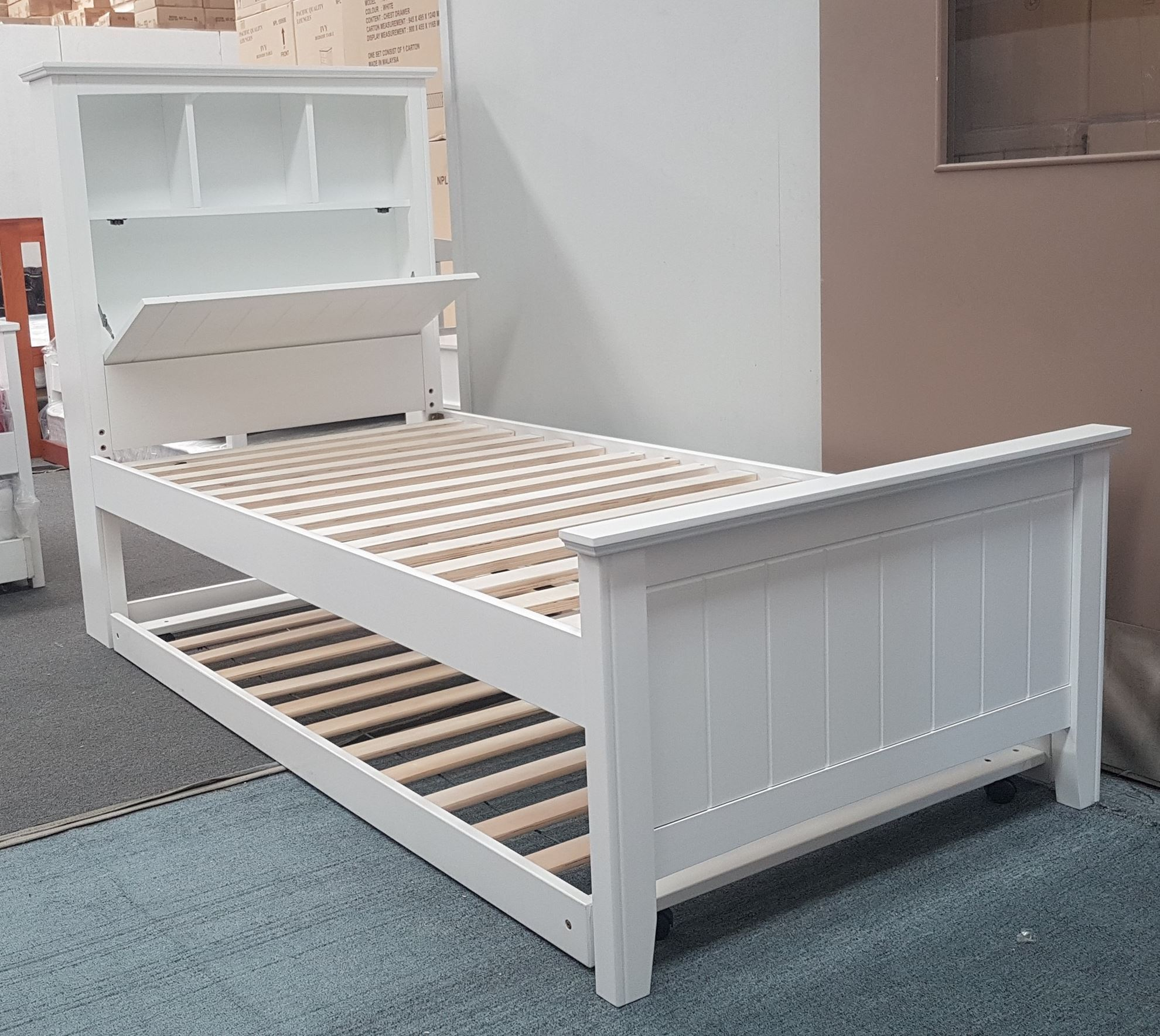 Furniture Place Kaylee Single Bed With Box Headboard Pull Out Trundler Bed On Wheels In White