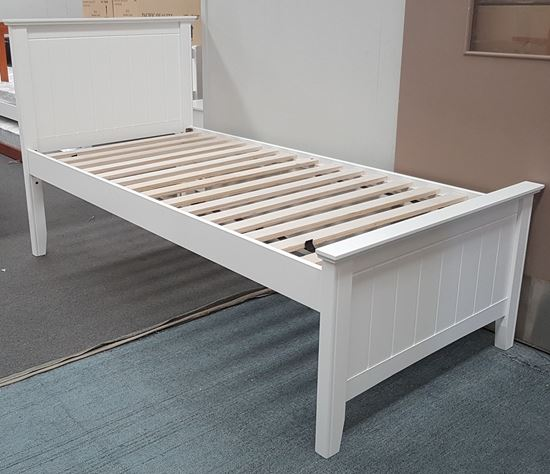 Picture of Eddie Single Bed Solid Hardwood White Malaysian Made