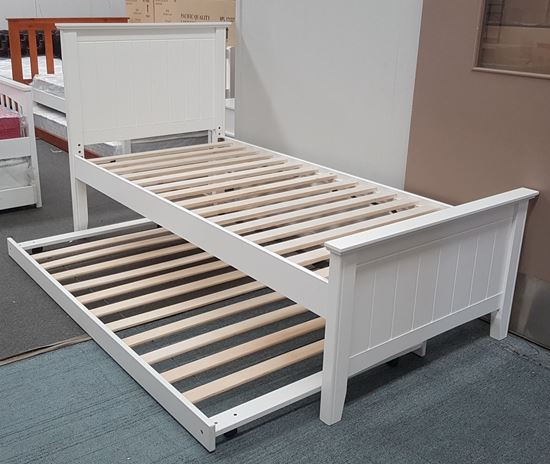 Picture of Eddie Single Bed with Trundle Solid Hardwood White Malaysian Made