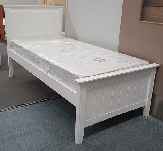 Picture of Eddie Single Bed with Mattress Solid Hardwood White Colour Malaysian