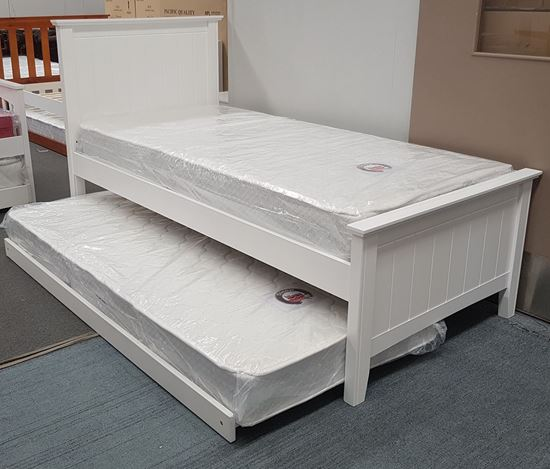 Picture of Eddie Single Bed with Trundle Mattresses Solid Hardwood White